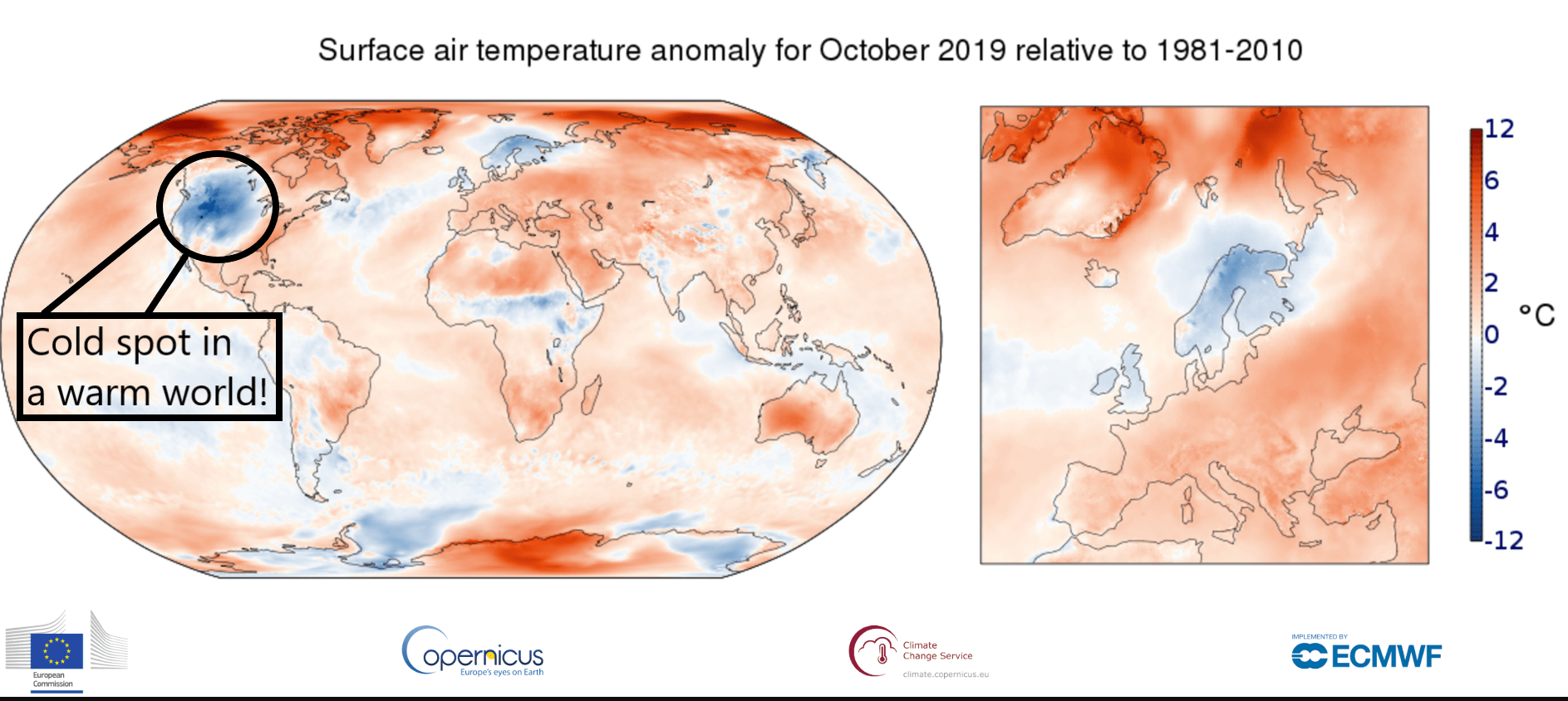 October global temperatures relative to 1981-2010 average