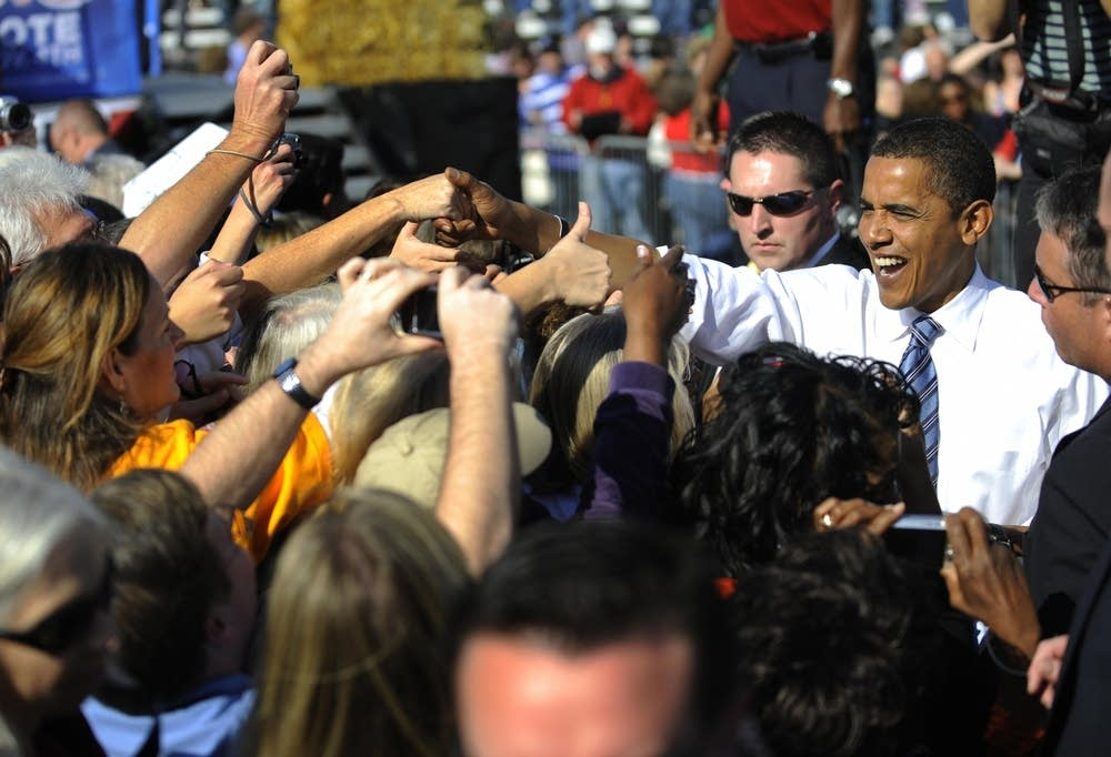 Barack Obama greets supporters in Iowa