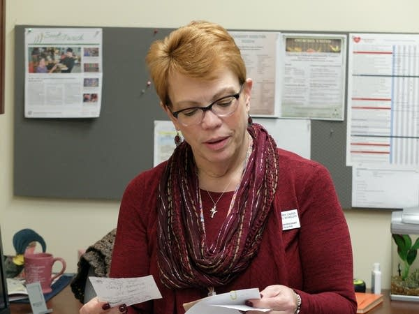 Sue Koesterman in her office at Churches United for the Homeless shelter.