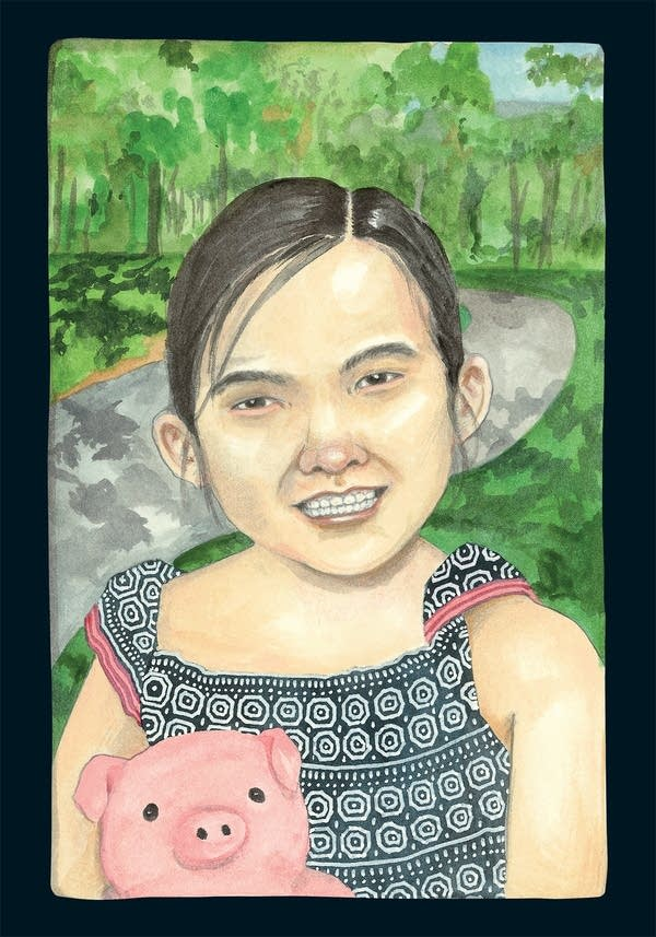 An illustration of a girl holding a stuffed animal.