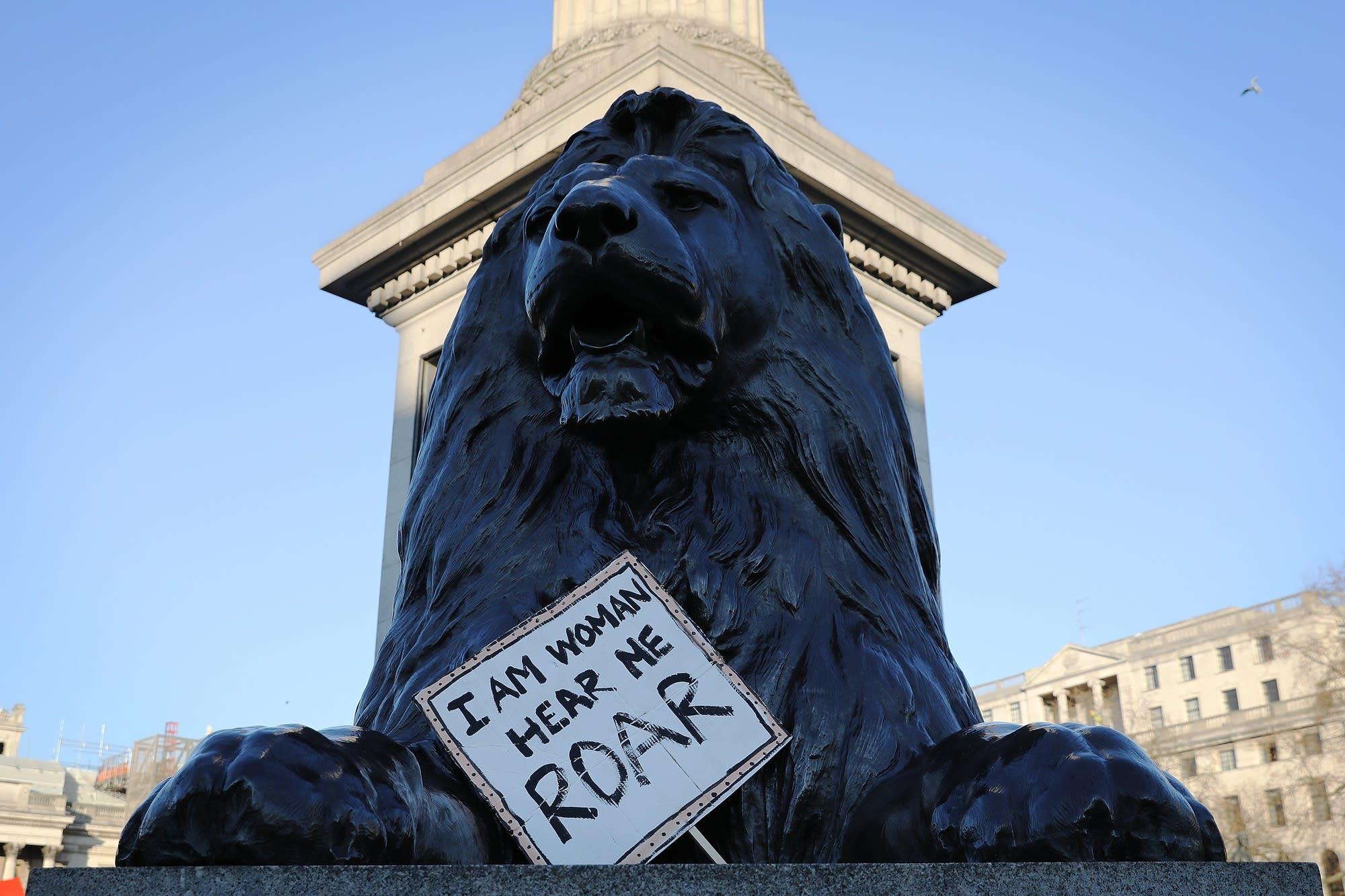 London, England: In Trafalgar Square, protesters gather.