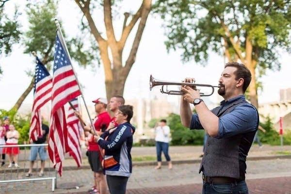 Justin Miller plays his trumpet.