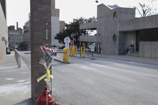 Flowers are placed outside the Molson Coors Brewing Co. campus.