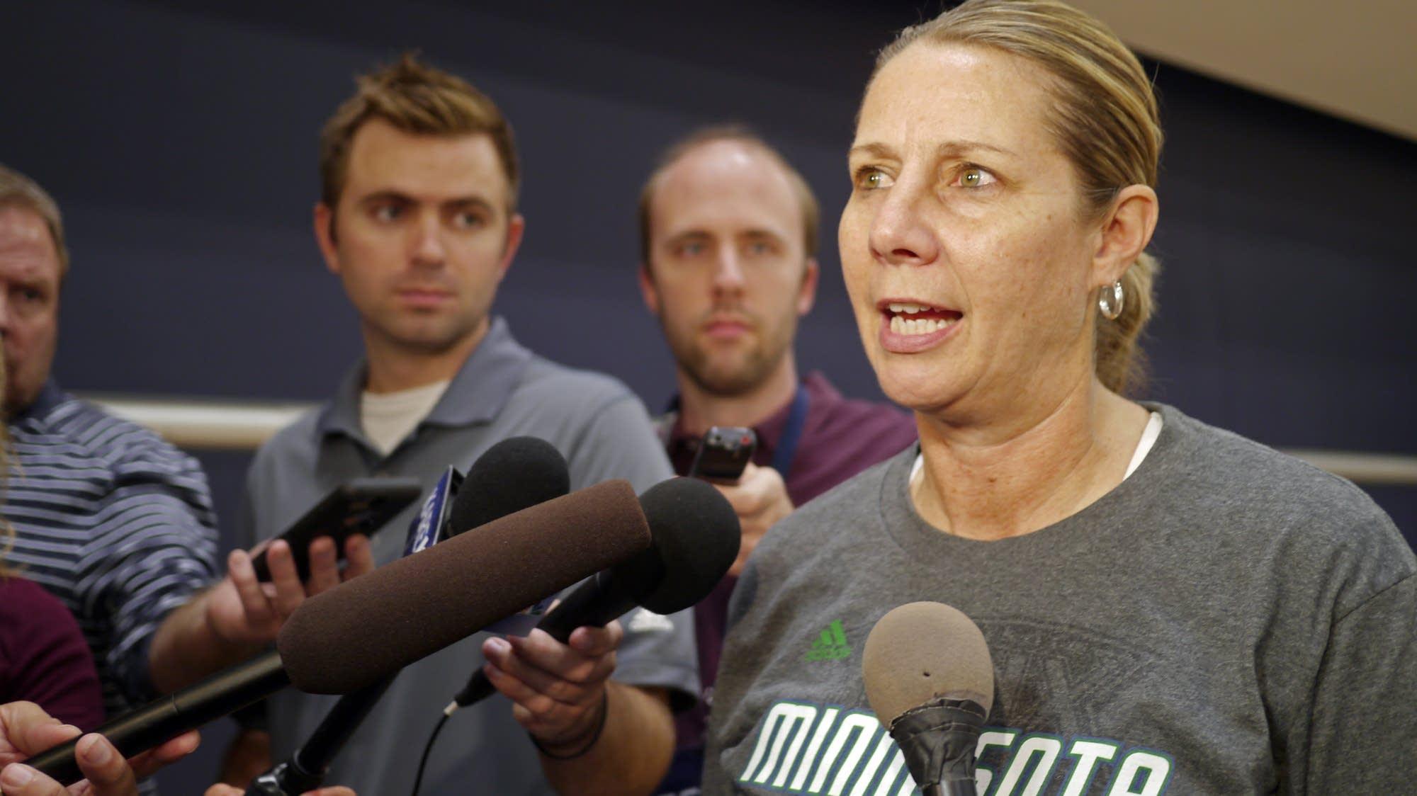 Lynx coach Cheryl Reeve talks to reporters.