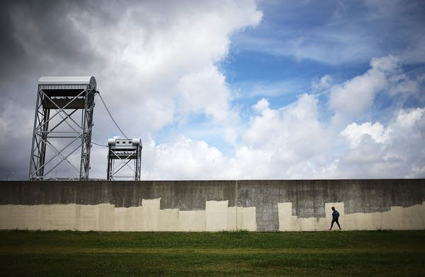 The rebuilt Industrial Canal levee wall