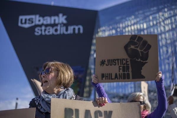 Sandi Sherman protests with Black Lives Matter outside US Bank Stadium.