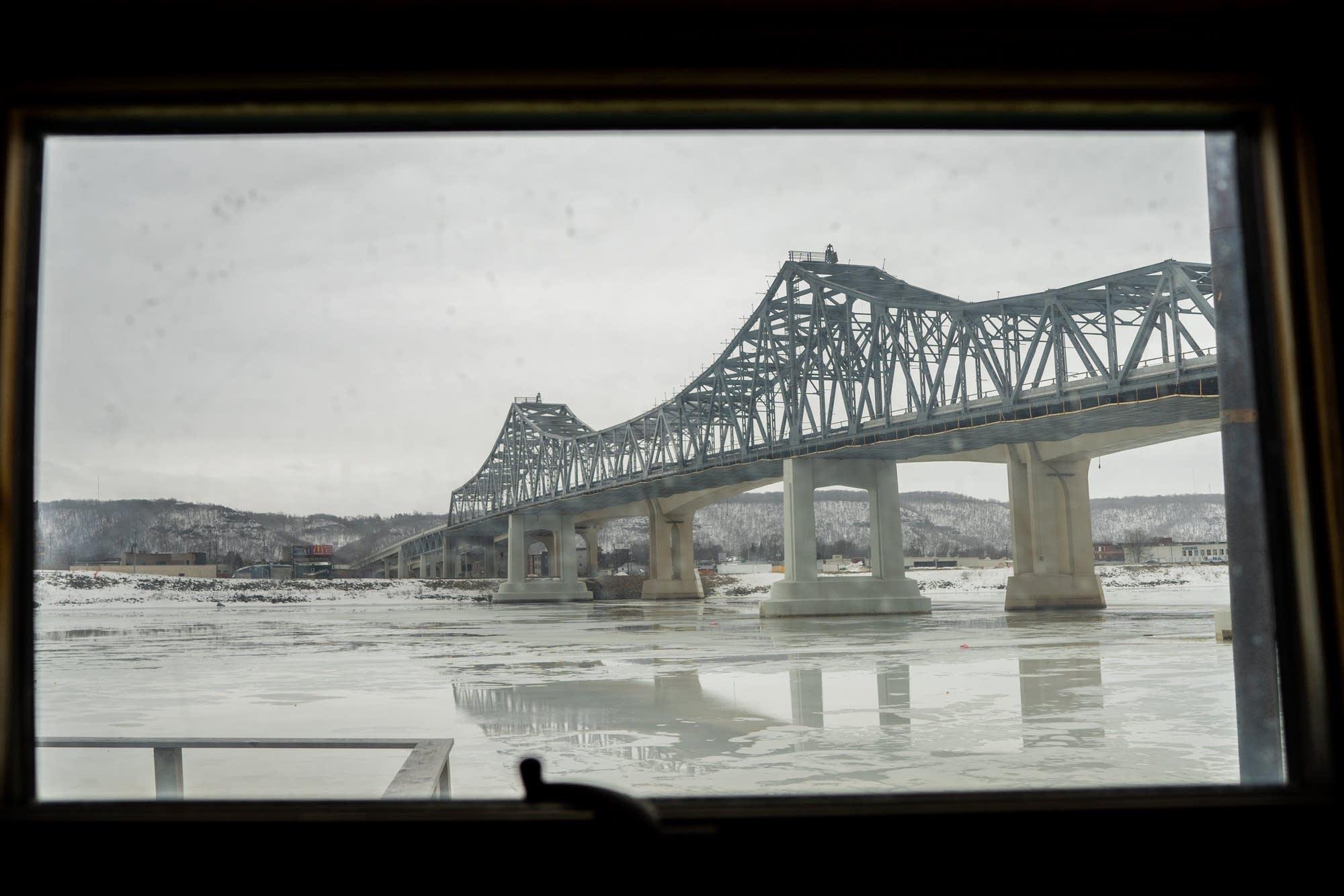 The Winona bridge is seen from the 2nd floor of Doug Johnson's houseboat.