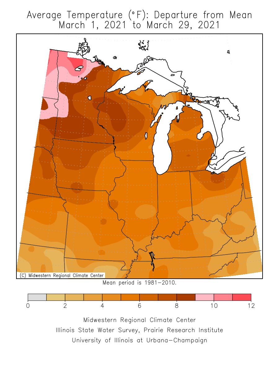 March temperature departure from average