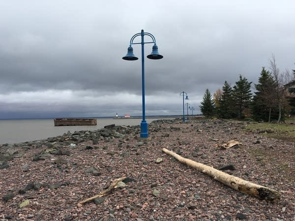 Debris covers Duluth's Lakewalk after Oct. 21 storm