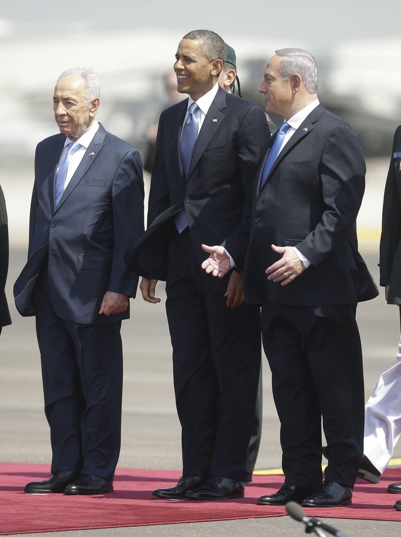 Barack Obama, Shimon Peres, Benjamin Netanyahu