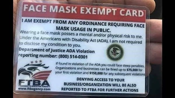 Fraudulent mask exemption card