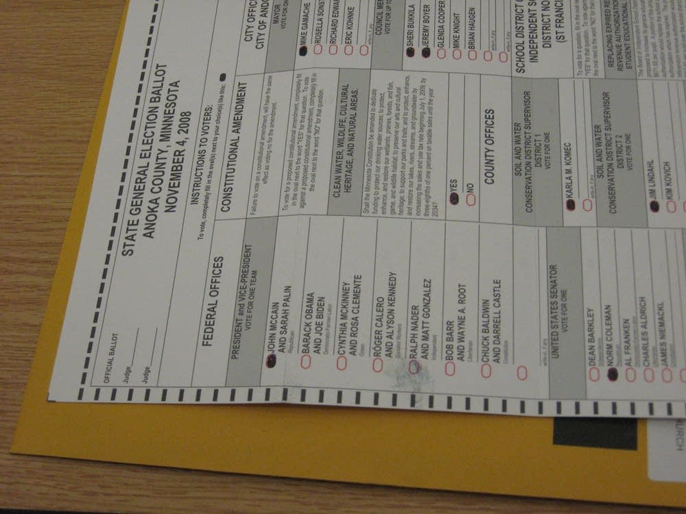 A thumb print on a challenged ballot