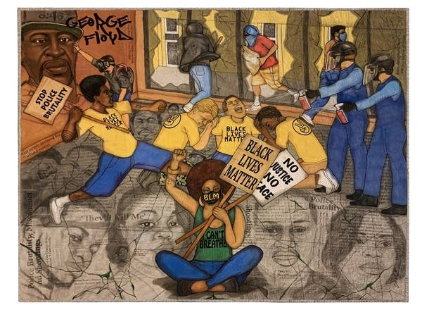 A quilt depicts scenes from protests and unrest in Minneapolis.