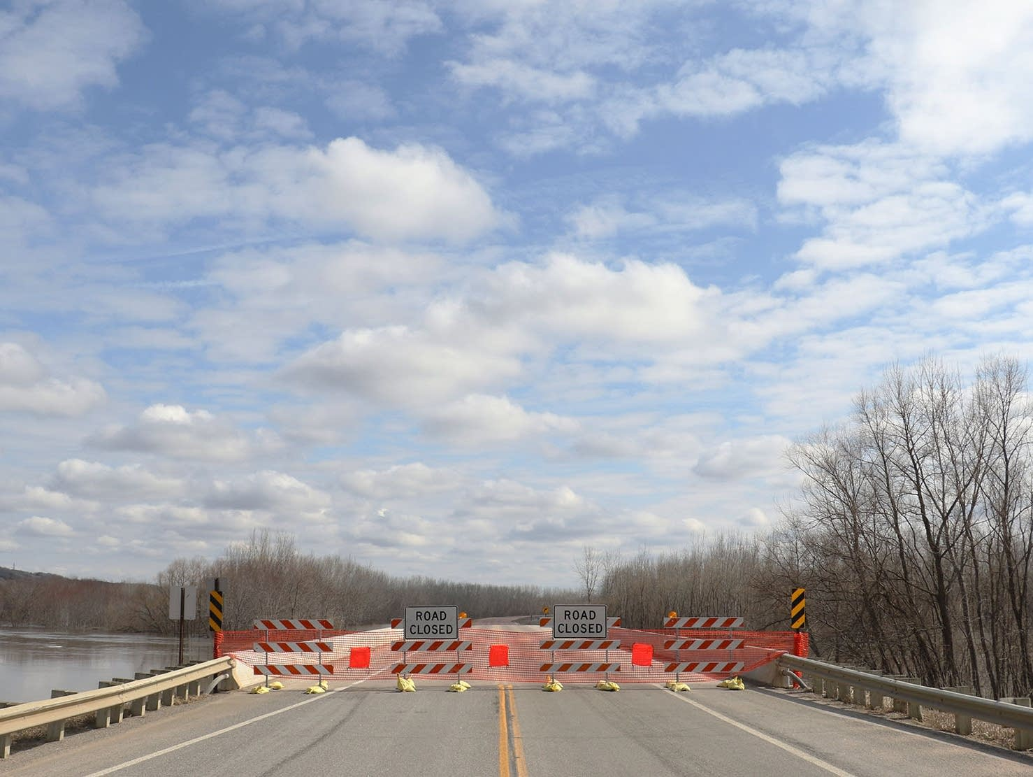 A bridge across the Minnesota River is closed due to flooding