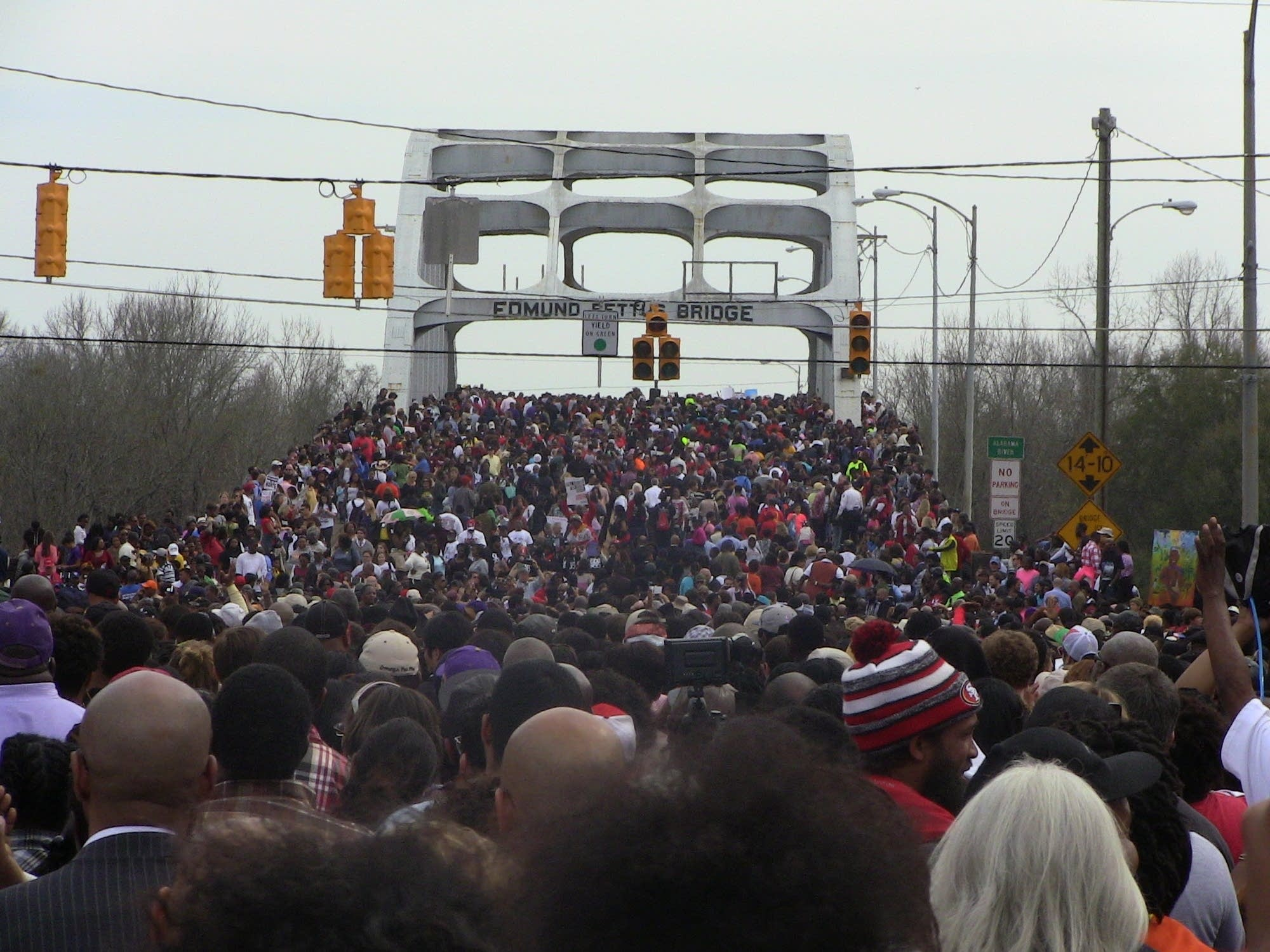 Marching across the Edmund Pettus Bridge in Selma