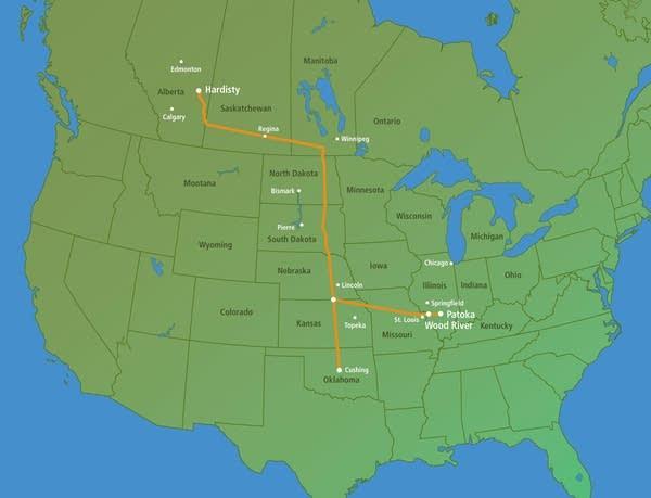 Map of Keystone pipeline project
