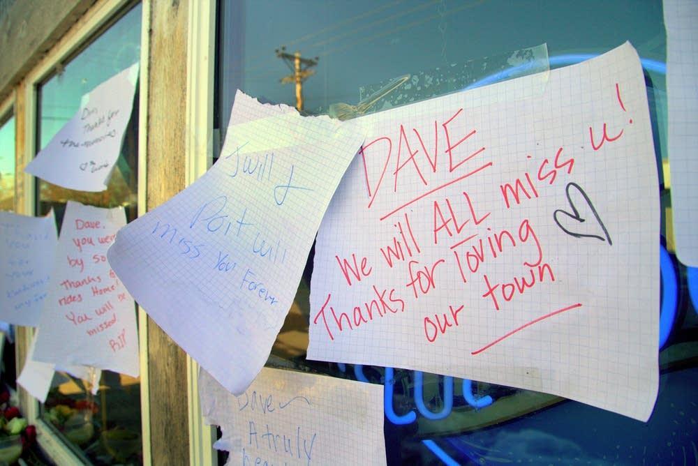Message outside Frigaard's Bar