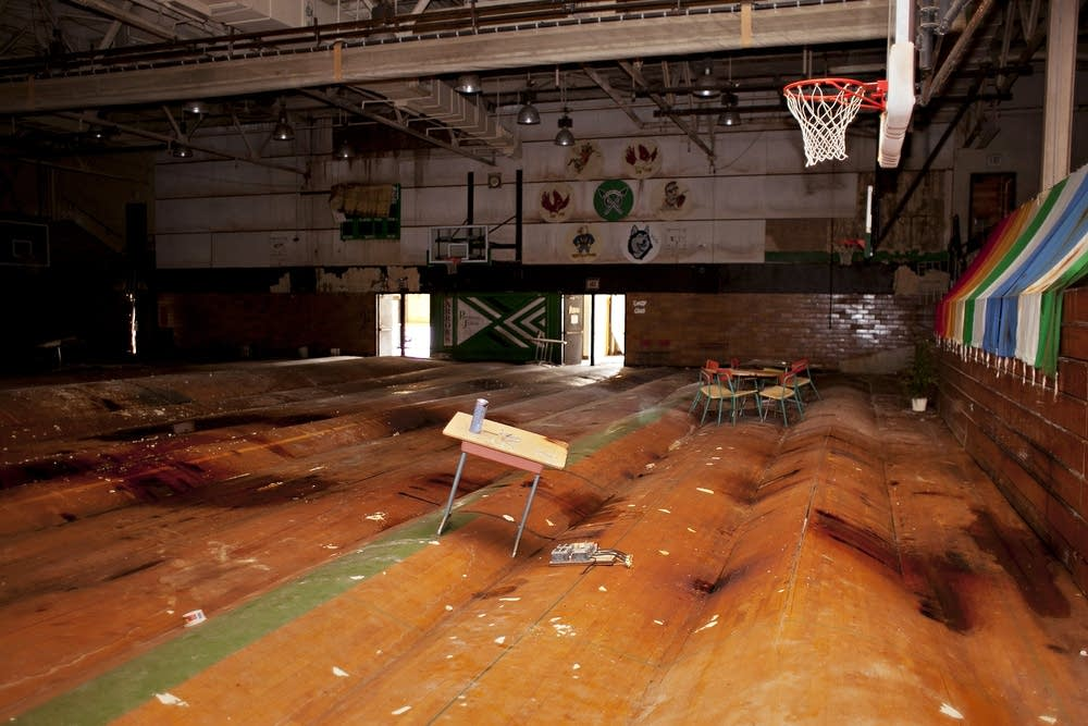 Water-damaged floor in an old gym in Pipestone.