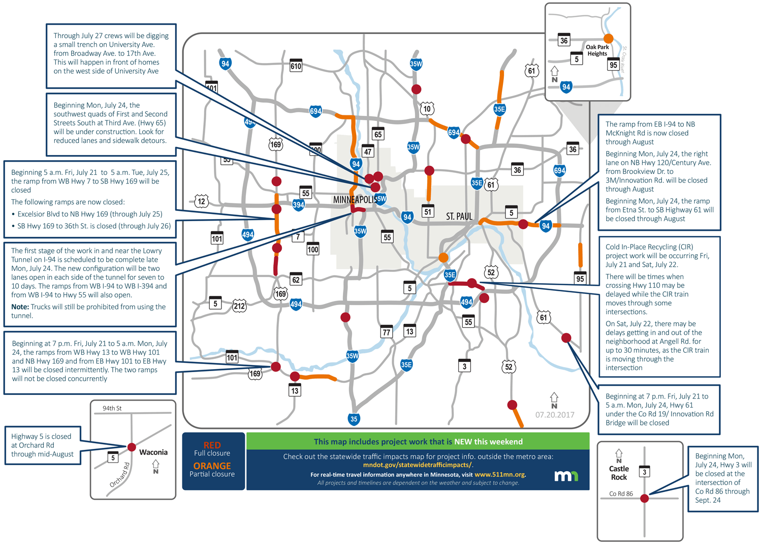 Construction across the Twin Cities for the weekend of July 22-23