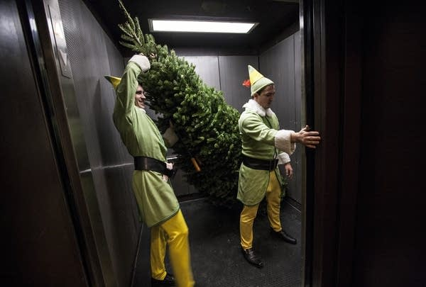 Two men dressed as elves carry a Christmas tree out of an elevator.