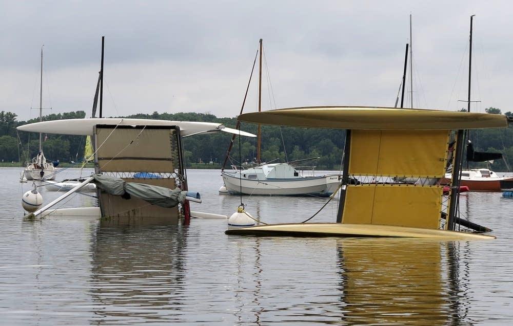 Capsized boats