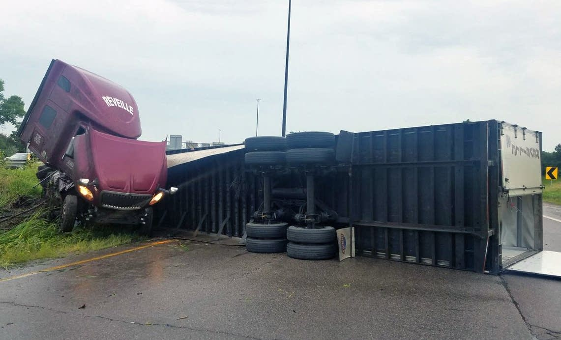 A semi crash on Interstate 35W at Highway 36.