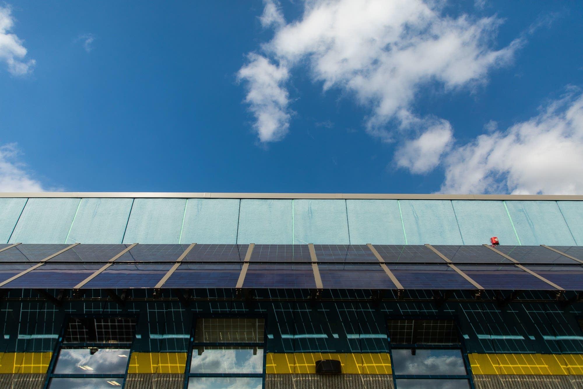 Sunny skies meet solar panels.