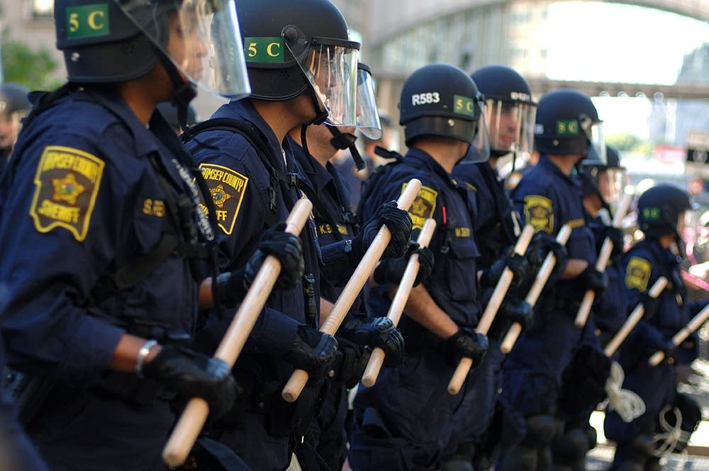 Line of police