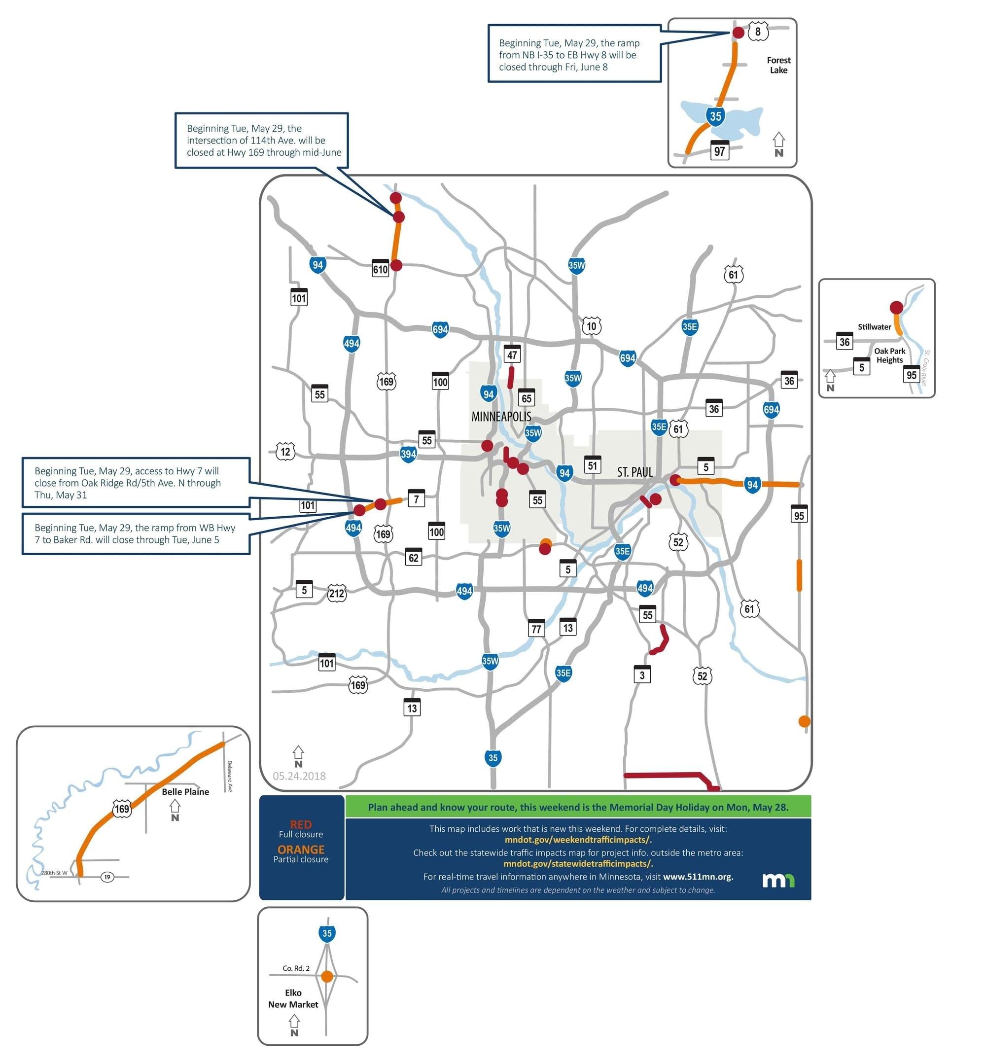 May 25 Traffic closures