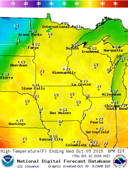 Temperature forecast Wednesday afternoon