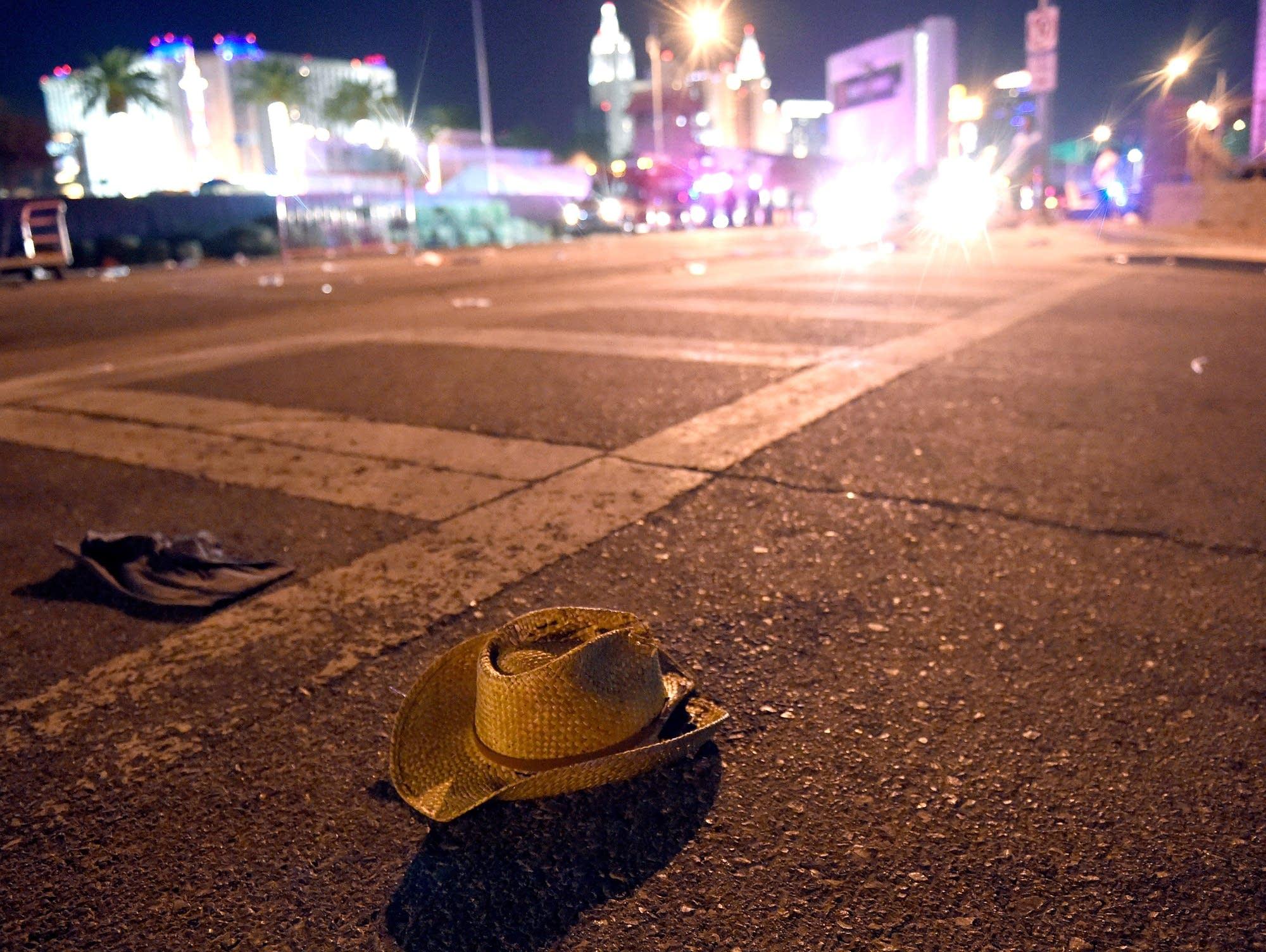 A cowboy hat lies on a Las Vegas street.
