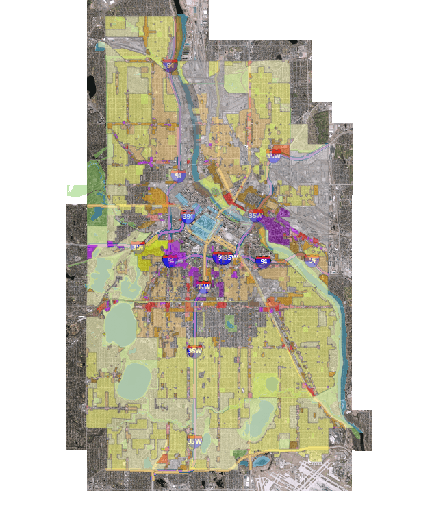 Minneapolis' current zoning map.