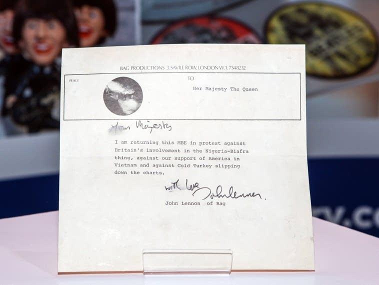 Draft of a letter from John Lennon