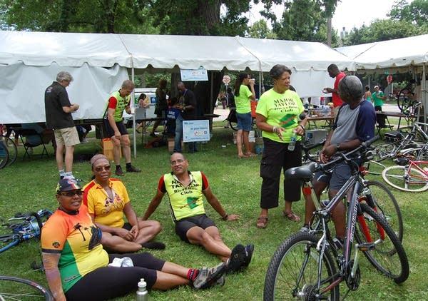 Participants rest at the bike fest