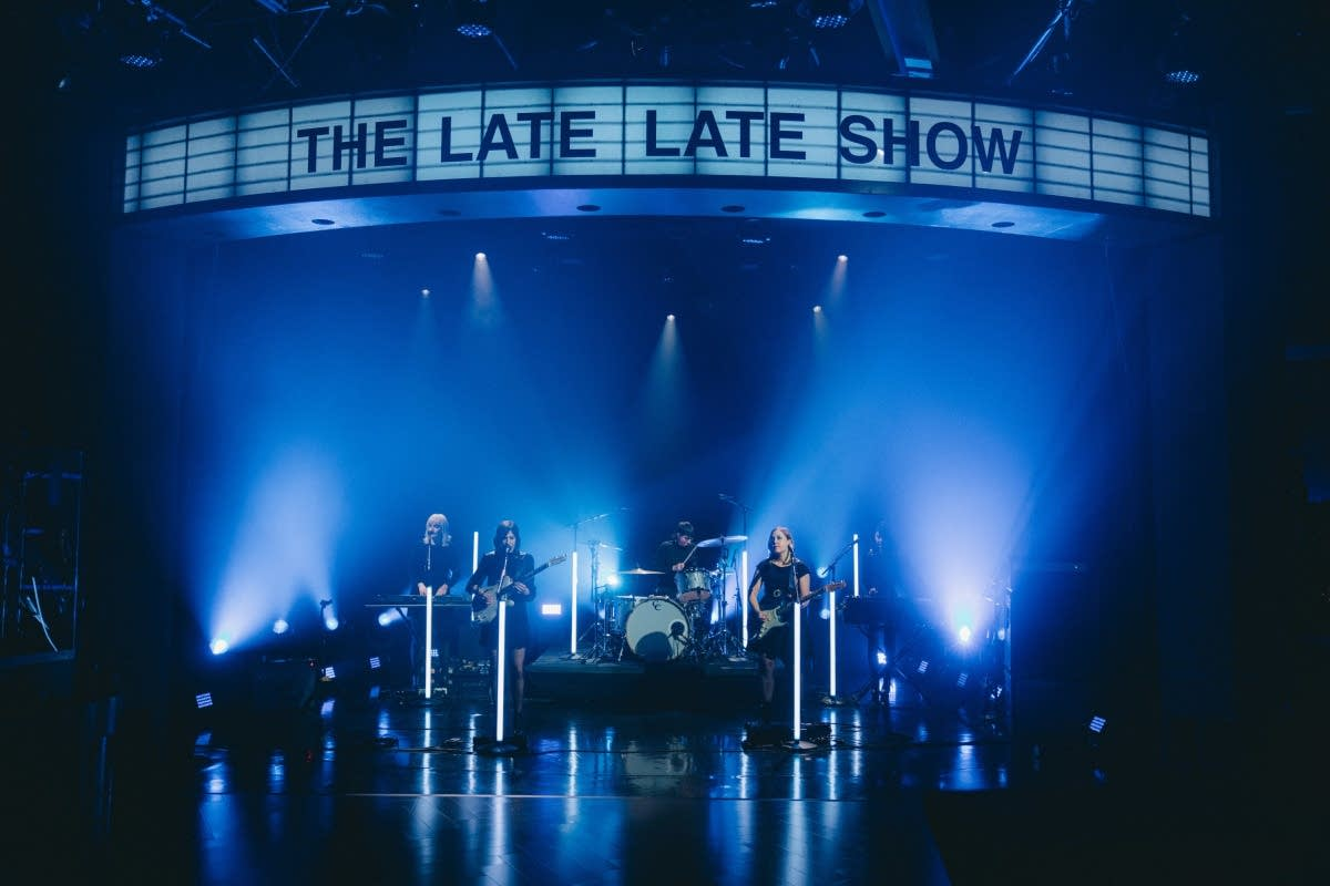 Sleater-Kinney performing on 'The Late Late Show with James Corden'