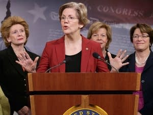 Female Senate Democrats call for raising the minimum wage for women.