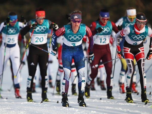 Jessie Diggins competes in 15km skiathlon