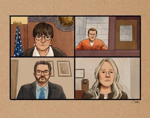 Derek Chauvin videoconference courtroom sketch