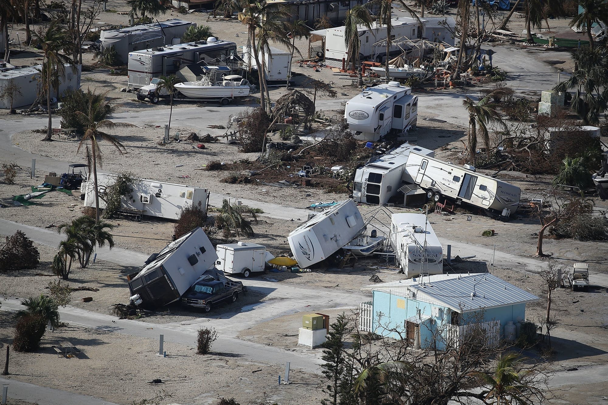 Damaged homes and RVs are seen at the Sunshine Key RV Resort & Marina.