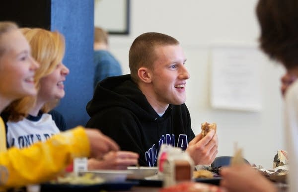 Eating bison burgers at Winona High School