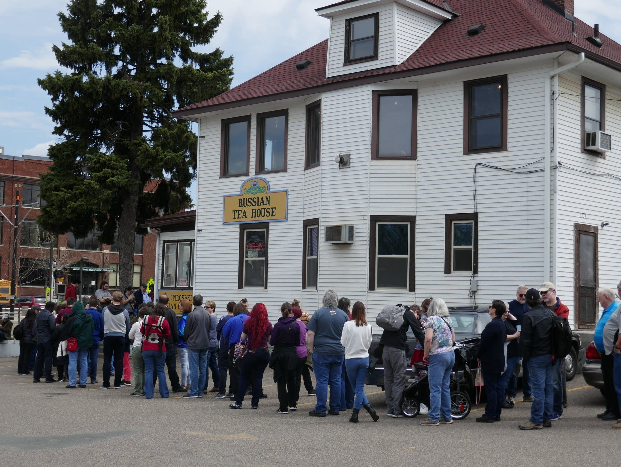 Customers wait in line in front of the Russian Tea House