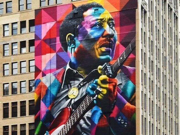 A Muddy Waters mural by Kobra, in Chicago