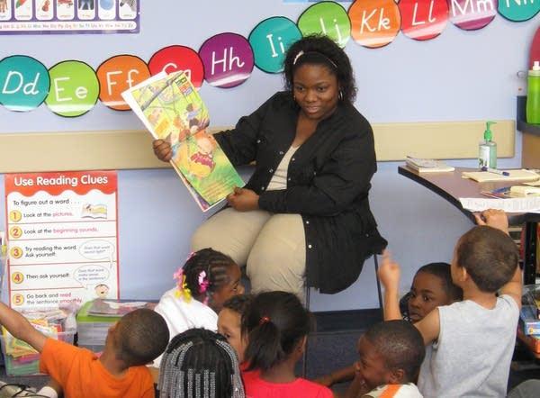 Reading to kindergartners