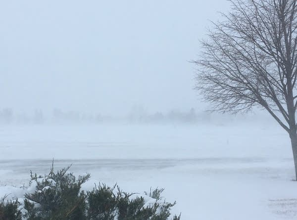 Wind reduces visibility just outside Moorhead.