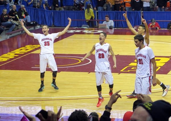 Red Lake team celebrates their win.