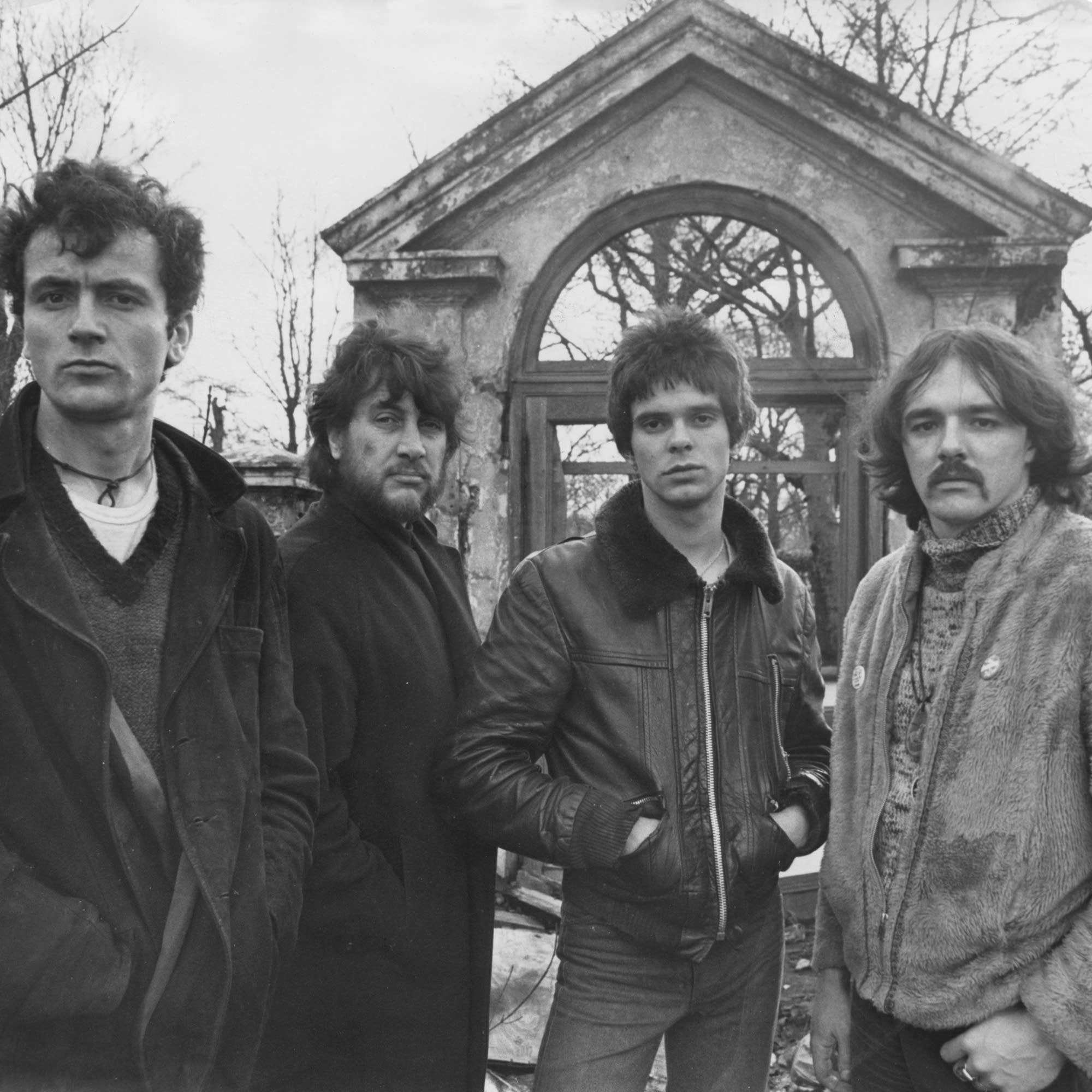 Dave Greenfield (far right) with the Stranglers in 1977.