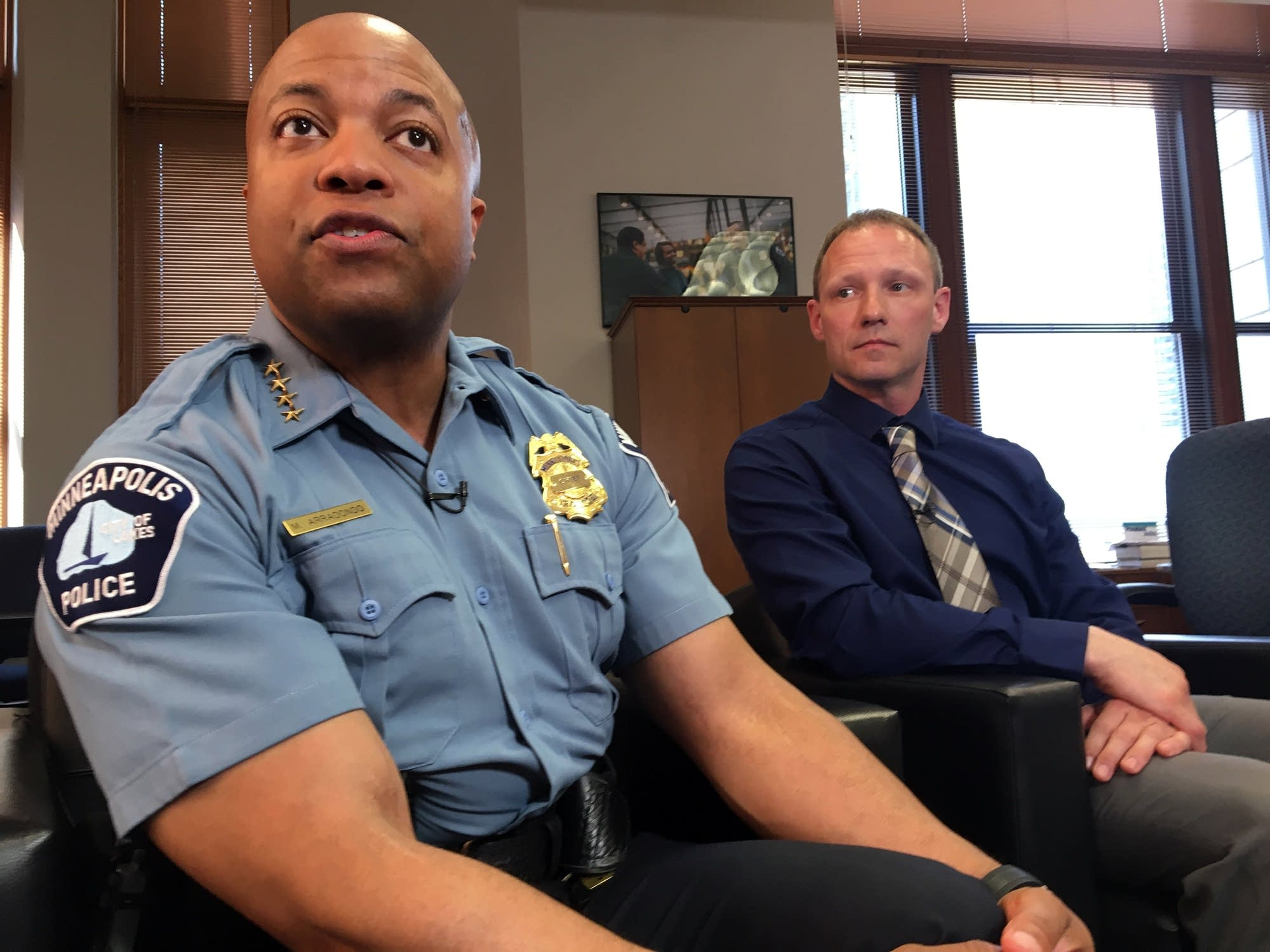 Minneapolis police chief Medaria Arradondo and commander Todd Sauvageau