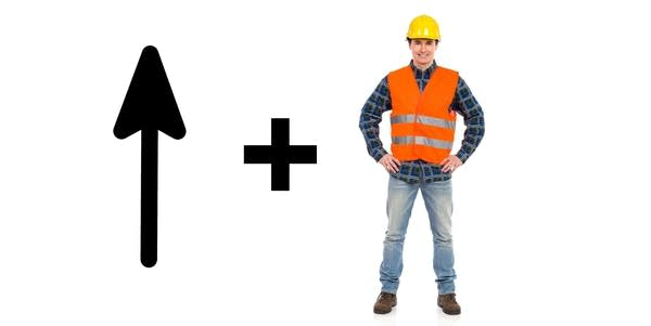 "An arrow pointing up, a ""plus"" symbol, and a man in an orange work vest"