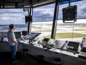 Inside the air traffic control tower.