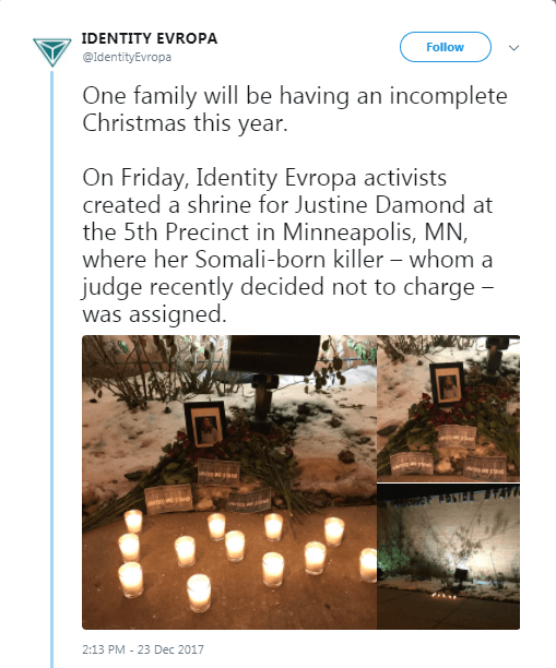 A tweet by Identity Evropa showing a memorial for Justine Rusczyzk.